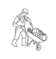 sketch farmer man with cart vegetables vector image