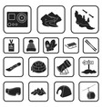 ski resort and equipment black icons in set vector image vector image