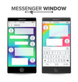 smartphone isolated on white background messenger vector image vector image