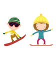 snowboarding kids vector image vector image