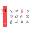 space aliens - line design style icons set vector image vector image