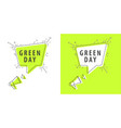 speaker and tag green day vector image vector image