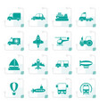 stylized different kind of transportation icons vector image vector image