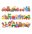 toys pile groups of children plastic game kids vector image vector image