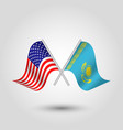 two crossed american and kazakhstani flags vector image vector image