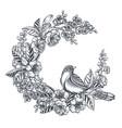 wreath doodle hand drawn magnolia vector image