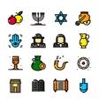 Thin line Judaism icons set vector image