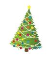 Cartoon christmas tree flat sticker icon vector image