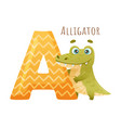 a letter and cute alligator baby animal zoo