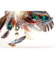 art background with colorful feathers vector image vector image