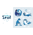 Baby Seal Sticker Collection Set vector image vector image
