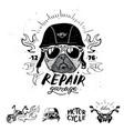 biker pug dog set of vintage motorcycle emblems vector image vector image