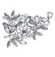 bouquet doodle hand drawn magnolia vector image vector image