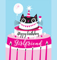 bright greeting card funny cat happy birthday vector image