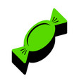 candy sign green 3d icon vector image vector image