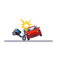car and transportation issue with a moped vector image vector image