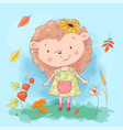 cartoon cute hedgehog and autumn leaves and vector image