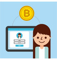 cartoon girl banking transaction bitcoin vector image