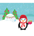 Christmas card with a penguin vector image vector image