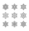 christmas snowflakes collection isolated on white vector image vector image