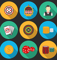 Colorful icon set on a casino theme Gambling icons