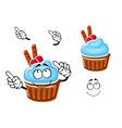 Cupcake with cream cranberries and waffle vector image vector image