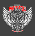 custom motorcycles emblem template with skeleton vector image vector image