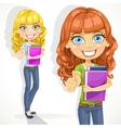Cute teen girl with wavy hair shows OK vector image vector image