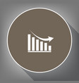 declining graph sign white icon on brown vector image vector image