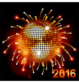 Disco ball over fireworks 2016 vector image