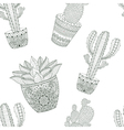 entangle mexican cactus seamless pattern hand vector image