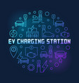 ev charging station round blue outline vector image vector image