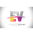 ev e v letter logo design with creative lines and vector image vector image