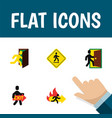 flat icon exit set of evacuation fire exit open vector image