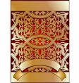 golden on red ornate banner vector image vector image