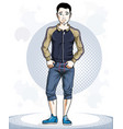 happy brunet young adult man standing character vector image