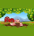 happy pig in the farm vector image