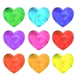 Hearts collection low poly style vector image