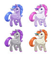 little cute cartoon unicorn icons set vector image