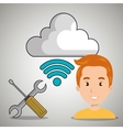man cloud Wi-Fi apps vector image