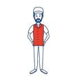 man in uniform of delivery worker standing vector image vector image