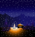 Merry Christmas and Winter landscape vector image vector image