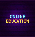 online education text neon label vector image vector image