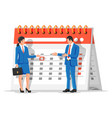 paper calendar with businessman and businesswoman vector image
