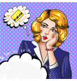 pop art of woman thinking vector image vector image