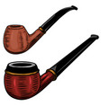 set smoking pipe in engraving style design vector image