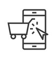 shopping on phone online shopping line style vector image vector image