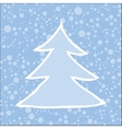 silhouette christmas tree with falling snow vector image