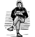 sketch a young person reading a book on a park vector image vector image