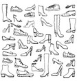sketch of shoes and boots vector image